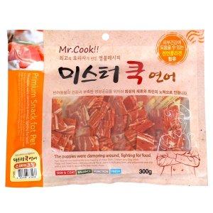 미스터쿡 강아지 육포 간식 연어 스테이크칩 300g