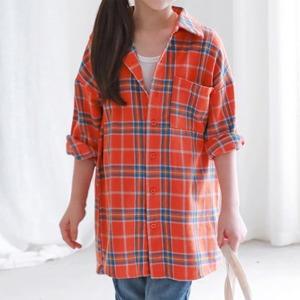 롱체크남방/쥬니어셔츠/초등여아롱남방/초등여아셔츠