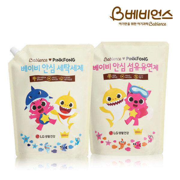 핑크퐁 베이비 안심 세제+유연제 리필 2200ml 총 4400ml
