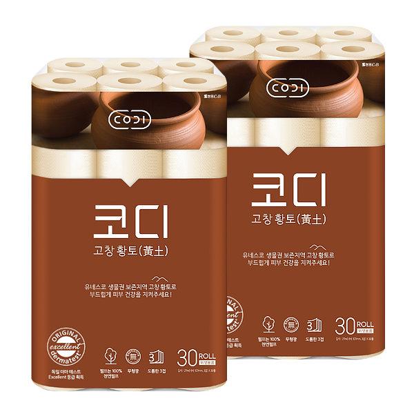 쌍용코디 천연황토 27M 30롤x2팩 화장지/롤휴지