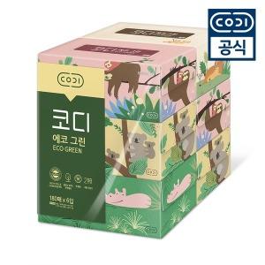 코디 에코그린 미용티슈 180매 6입/각티슈/화장지