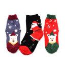 산타곰수면 3족 아동 크리스마스 산타 양말 세트
