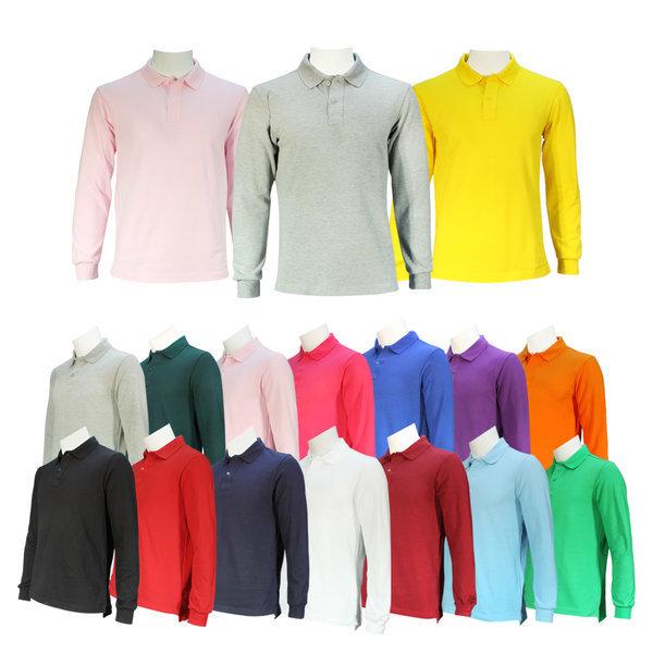 남녀공용 무지 단색 캐주얼티셔츠 긴팔 카라티
