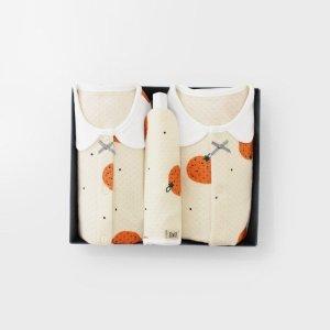 메르베  귤귤 아기 백일선물세트(내의+우주복