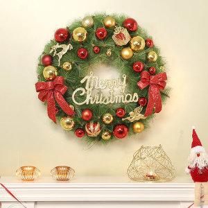 크리스마스 원형 리스/장식 풀세트/성탄절 인테리어
