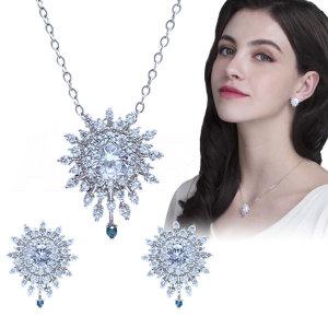 오지끄 천연 블루 다이아몬드 목걸이 귀걸이 세트