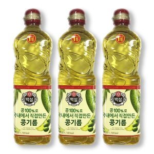 CJ 백설 콩기름(900mlx3개)식용요리오일대두유부침개