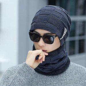 스타일 겨울 니트 비니+넥워머 세트 기모 방한 모자