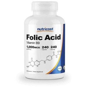 Nutricost 엽산 비타민B9 포함 1000mcg 240캡슐