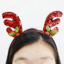 크리스마스_미니사슴머리띠(스팽글초록레드)/파티용품