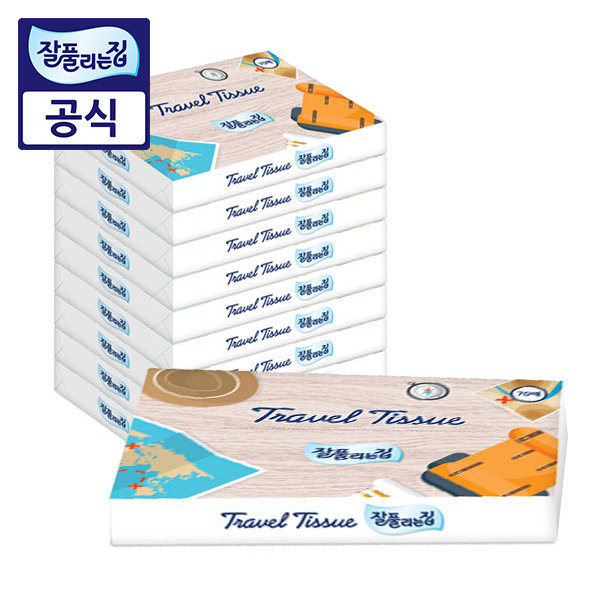 잘풀리는집 여행용티슈 70매 10팩/휴지/화장지/각티슈