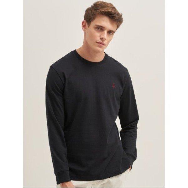 블랙 베이직 로고 자수 라운드넥 티셔츠 (BC9741A025)