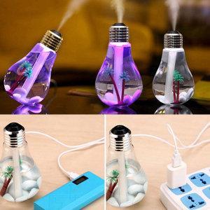 USB 전구 가습기 투명골드 미니 사무실 소형 초음파
