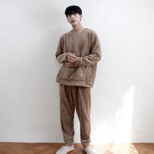 남성 무지 밍크 겨울 수면장옷 세트 파자마 밀크초코