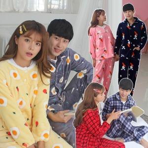 FW 수면 피치기모 세트 파자마 원피스 잠옷바지 커플