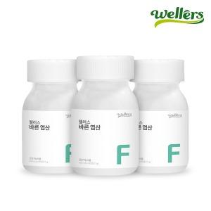 바른 엽산 (유산균유래 아연 엽산제) 3병 3중기능성
