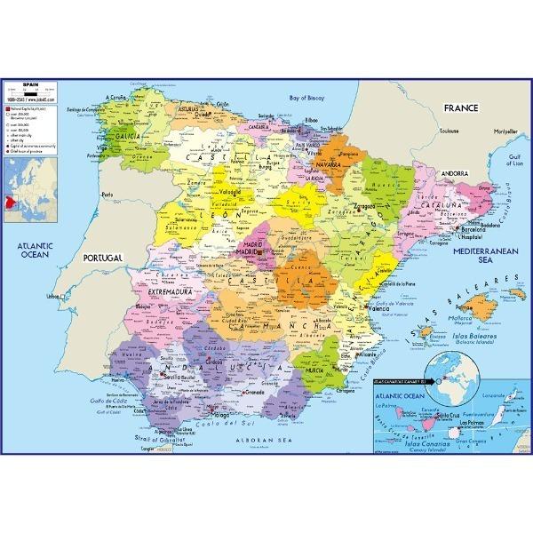 스페인 지도 소size 코팅형 110cmx78cm 영문판
