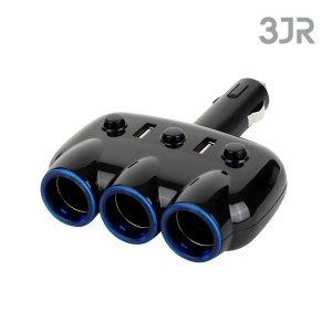 차량용 충전기 시거잭 3구+USB 2포트 JCGR3434AT