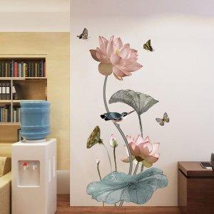 클래식 연꽃 침실 3D 벽스티커 따뜻한 장식 벽지