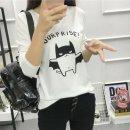 여성 서프라이즈 배트캣 라운드넥 긴팔티셔츠 여자