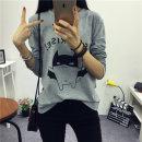 여성 컬러 Surprise 배트캣 라운드넥 긴팔티셔츠 여자