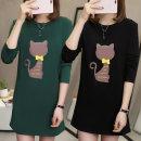 여성 긴팔 박스 고양이 리본 롱 티셔츠 여성 원피스