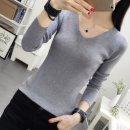 여성 브이넥 니트 티셔츠/가을/겨울/긴팔