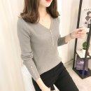 여성 골지 브이넥 단추 포인트 긴팔 니트 티셔츠/여자