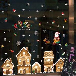 크리스마스 장식 가게 창문 유리 스티커 인테리어