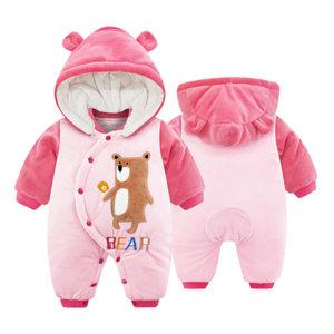 누빔패딩 핑크곰 겨울우주복 방한우주복 여아우주복