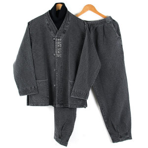 겨울용 이중지 남자개량한복 추동 남자생활한복 먹색