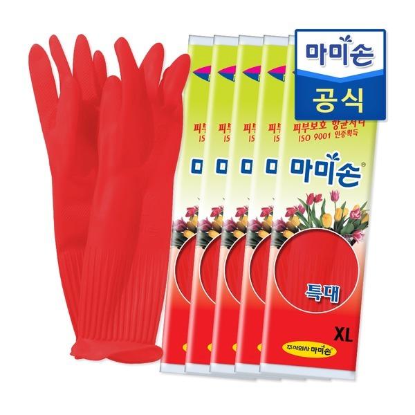 마미손 고무장갑 특대(특대형) 5개묶음 라텍스/김장