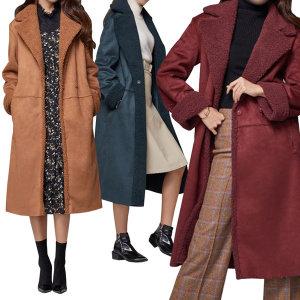 엘루디아 리버시블 롱 무스탕 코트 양털 여성무스탕