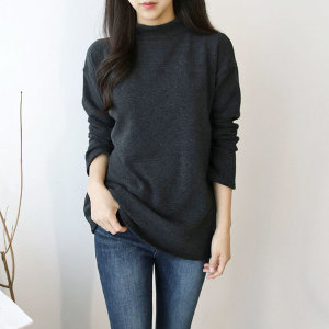 융 기모 밍크 반폴라 티셔츠 하이넥 겨울 따뜻한 루즈