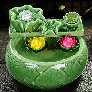 워터볼 세라믹 도자기 공예 연꽃 인테리어 분수대 3종