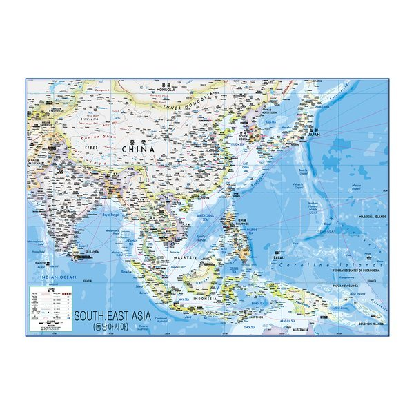 동남아시아지도 중size 코팅형 150cmx110cm