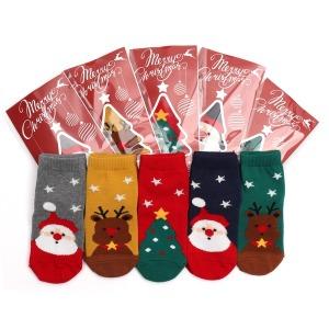 V 메리데이_5족 아동 양말 유아 산타 크리스마스 선물