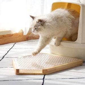 디자인펫 원목 고양이 화장실 모래 매트 사막화 방지