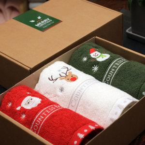 크리스마스 에디션 리미티드스페셜 3p 수건선물세트