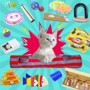 고양이장난감모음 고양이용품 스크래쳐 그루밍 낚시대