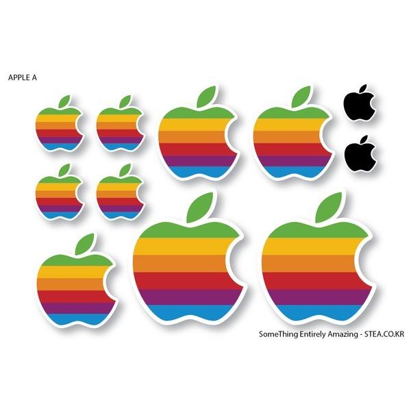 애플 1977 레트로 로고 스티커SET