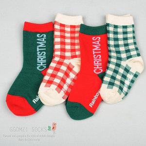 (꼼지)  꼼지  G체크 크리스마스(4족) 중목 유아동 양말