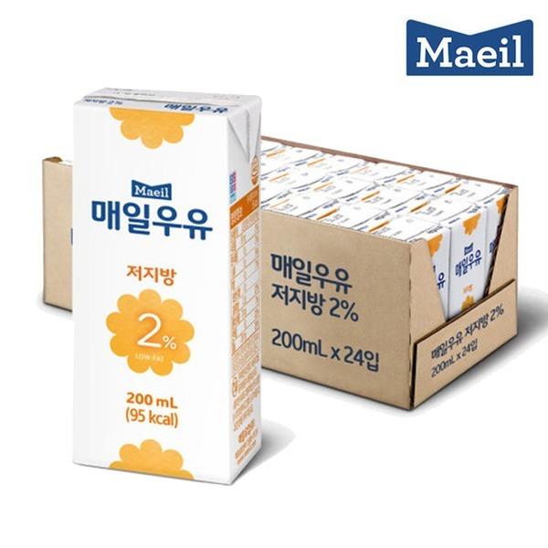 매일 멸균우유 저지방 2% 200ML 24팩