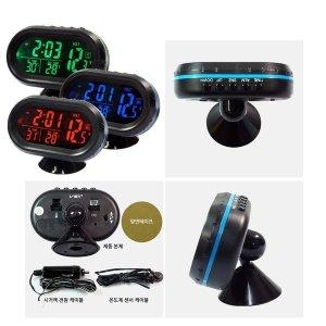 차량용 12V 24V 겸용 LED 시계 온도계 볼트 메타 그린