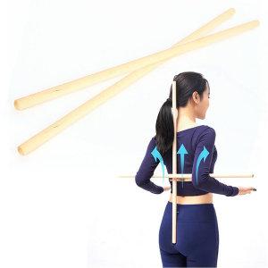 트윈 스트레칭바 1세트(2개) 요가봉 목봉 나무봉