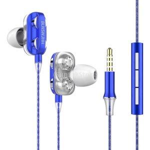 A4 더블 스피커 유선이어폰 고음질 스테레오 블루