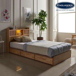 (현대Hmall)잉글랜더 클림트 슬라이딩 LED 원목 수납 침대(매트제외-SS)