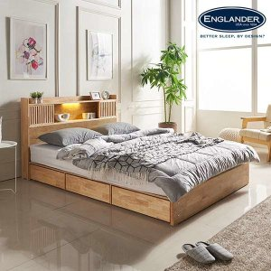(현대Hmall)잉글랜더 클림트 슬라이딩 LED 원목 수납 침대(매트제외-Q)