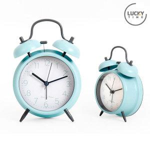 럭키타임 탁상시계 시끄러운 알람시계 소형 블루