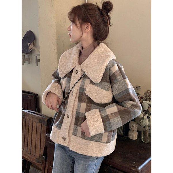 체크무늬 양모 면 긴소매 자켓